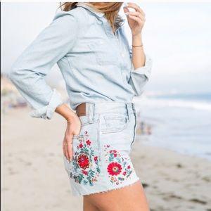 Madewell Embroidered Denim Cutoff Highwaist shorts